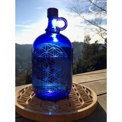 Bouteille en verre bleu Fleur de Vie