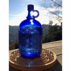 Bouteille en verre bleue Fleur de Vie