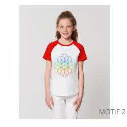 T-Shirt Bio Enfant Bicolore Fleur de Vie