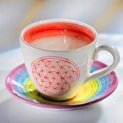 Tasse & Soucoupe Fleur de Vie en céramique