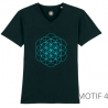 T-Shirt Bio Noir Fleur de Vie Homme col en V