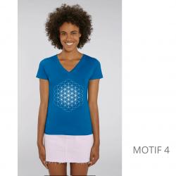 T-Shirt Bio Bleu Fleur de Vie Femme col en V