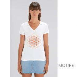 T-Shirt Bio Blanc Fleur de Vie Femme col en V